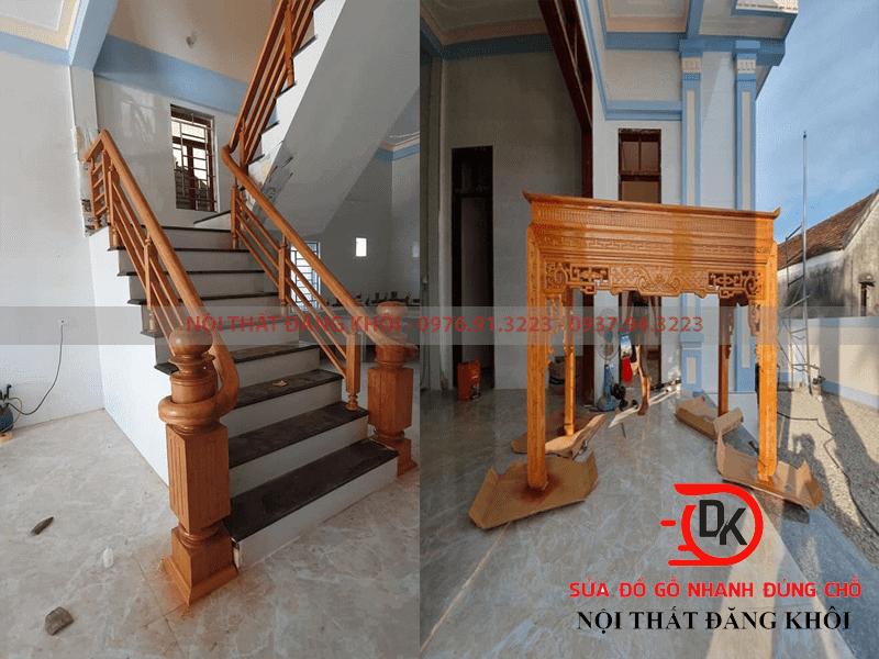 Đóng mới cầu thang, tủ thờ