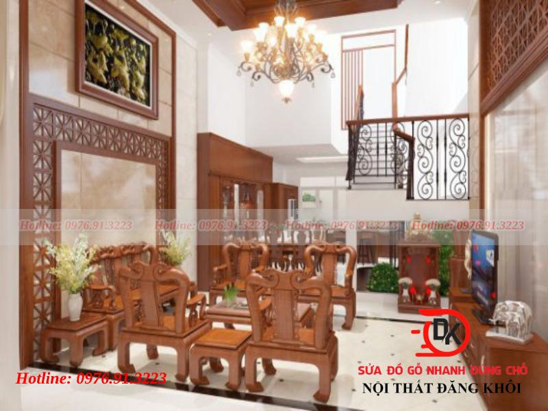 Phòng khách gỗ xoan đào